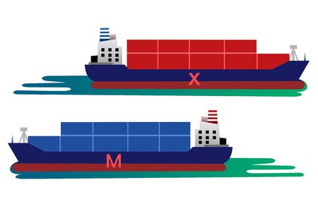 Illustration of Import and export by shipping Illustration