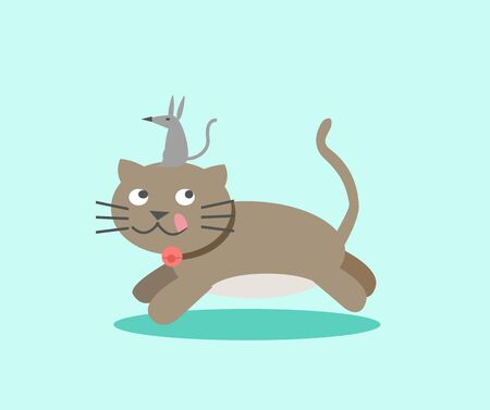 Cat and mouse illustration Illustration