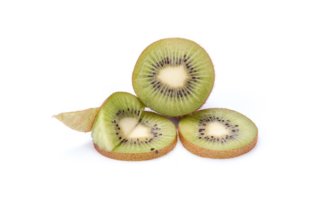 segments: Kiwi fruit sliced segments isolated on white Stock Photo