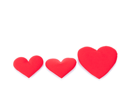 textfield: Red hearts on white background Stock Photo