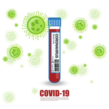 Corona Virus Test Tube and injection. Health Care And Medical Concept Design. covid-19 blood test. vector Illustration