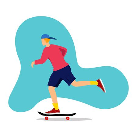 skater 3D isometric vector illustration. playing skateboard. vector Иллюстрация