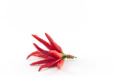 cayenne pepper: red chili spur pepper on white background Stock Photo