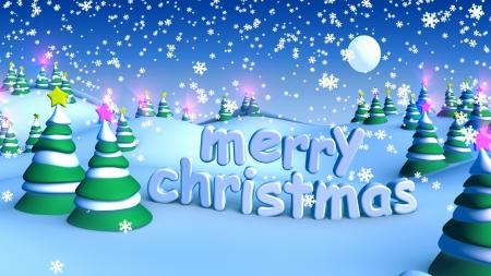 Merry Christmas in winter snow landscape Archivio Fotografico