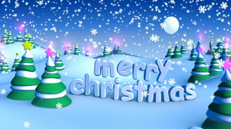 Merry Christmas in winter snow landscape Stock Photo