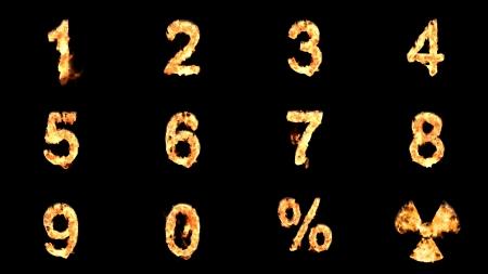 Burning number isolated on black Stockfoto