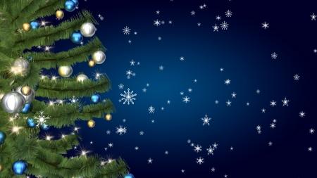 Christmas tree on blu background Archivio Fotografico