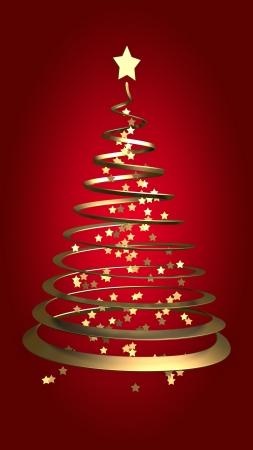 赤の背景にクリスマス ツリー