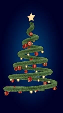 ブルの背景上にクリスマス ツリー 写真素材