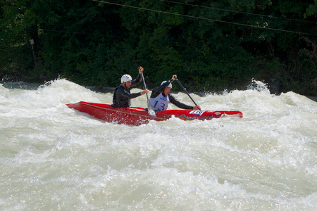 ICF ワイルドウォーター カヌー世界選手権、2014 年 6 月 11 日・ ヴァルテリーナ イタリアでアッダ川の参加選手 報道画像