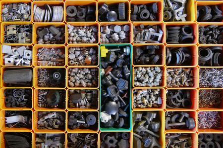 camshaft: Background of assorted spare parts for cars Stock Photo