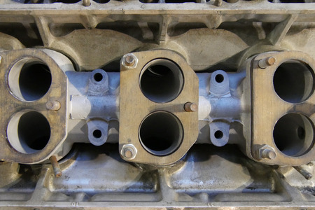 cylinder block: Close up of the cylinder block of a car engine