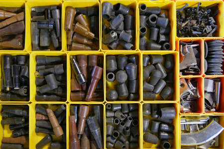 Background of assorted spare parts for cars Stockfoto