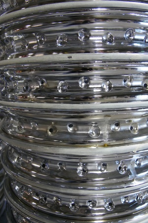 Background of stacked rim wheels