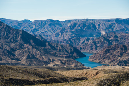 hoover dam: Viewpoint of mountains range landscape with Colorado river.
