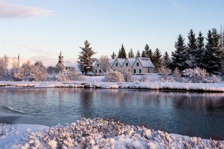 �?�ingvellir Church or Thingvellir Church winter time view from �?�ingvellir national park Stock Photo