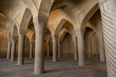 fars: The Vakil Mosque is a mosque in Shiraz contains 48 monolithic pillars carved in spirals, Fars Province Shiraz, Southern Iran