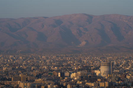 fars: Sunrise aerial view of Shiraz, the capital of Fars Province one of major city of Iran