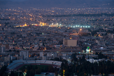 fars: Night view aerial view of Shiraz, the capital of Fars Province one of major city of Iran Stock Photo