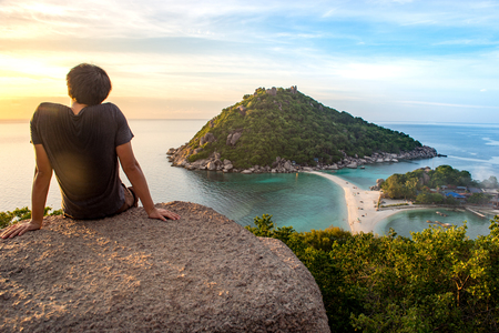 Watching sunset at Ko Nang Yuan is a small island very close to Ko Tao.