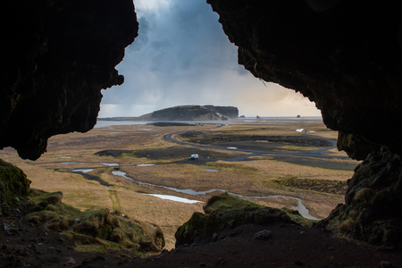 Dryholaus Cave Iceland, small dead end cave in the hill on the Dyrholavegur road.