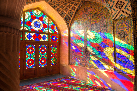 OCTOBER 23, 2016 - Shiraz, the Islamic Republic of Iran : The morning sunlight shining through the stained-glass creates the great array of colors projected into the prayer halls. Redactioneel