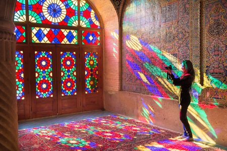 islamic wonderful: OCTOBER 23, 2016 - Shiraz, the Islamic Republic of Iran : The morning sunlight shining through the stained-glass creates the great array of colors projected into the prayer halls. Editorial
