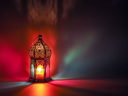 Lantern glowing in the dark. Suitable for ramadan and eid fitri greetings and wishes card