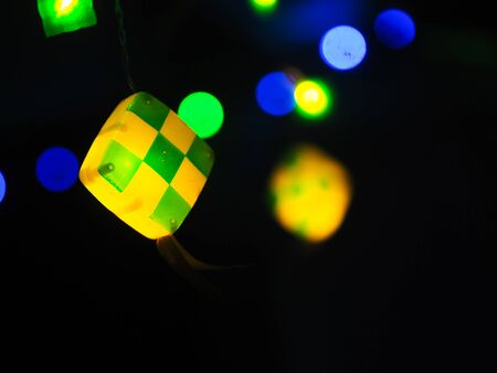 Light decoration in ketupat shape. Suitable for eid fitri greetings concept