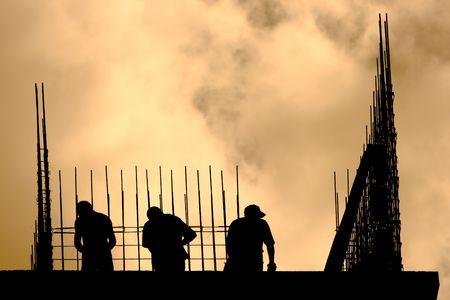 建設労働者の Siluet 写真素材