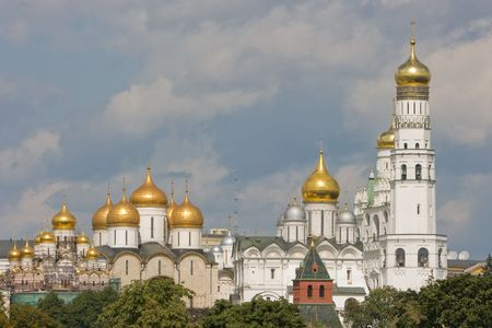 kremlin: Churches In Moscow Kremlin. Stock Photo