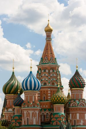 red square moscow: Jefes de la Catedral de Basil?s, en la Plaza Roja, Mosc�, Rusia.