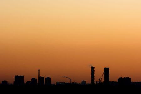 Colorful urban scenery sunset. Stock Photo - 3897484