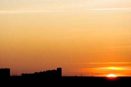 カラフルな都市風景夕日。 写真素材