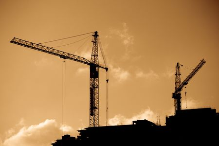 High Cranes at sunset. Stock Photo