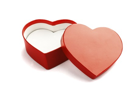 Heart shape Valentine gift box on white background