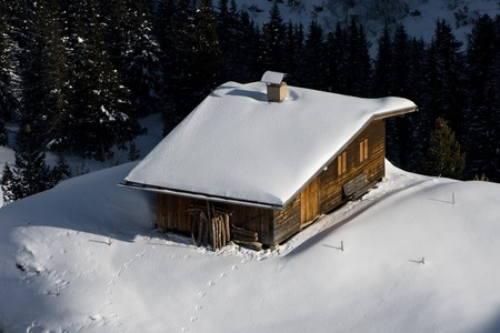 Hut in the snow photo