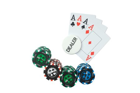 Playing card and chips. Stock Photo