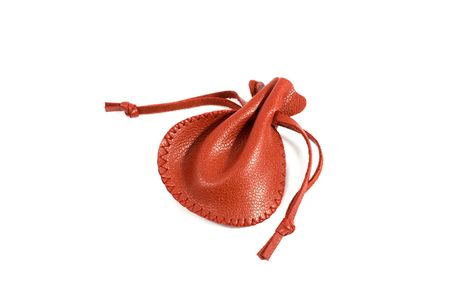 Red leather pouch on white
