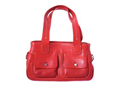 白い背景で隔離赤い女性バッグ 写真素材