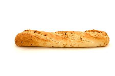 Long loaf. French bread on a white background
