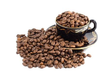 Cup and Coffee beans background photo