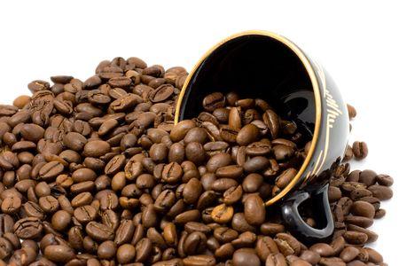 カップとコーヒー豆 写真素材