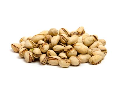 pistachios: Pistachios with shell on white background