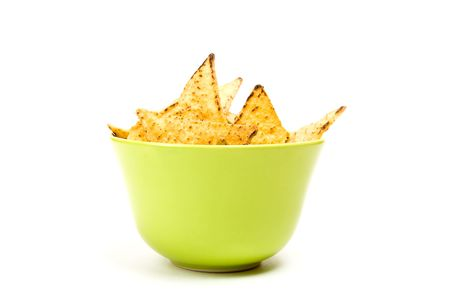 Tortilla chips in green bowl.