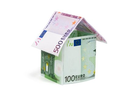 House made from euro bills Stock Photo