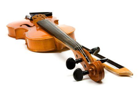 ヴァイオリンと弓を白で隔離されます。 写真素材