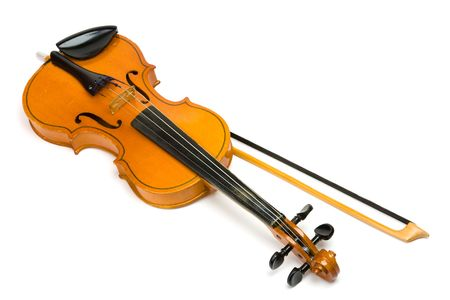 Violin and bow isolated on white.