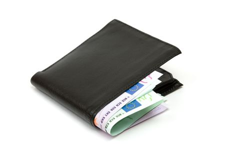 Black leather wallet  purse  money pouch. Stock Photo