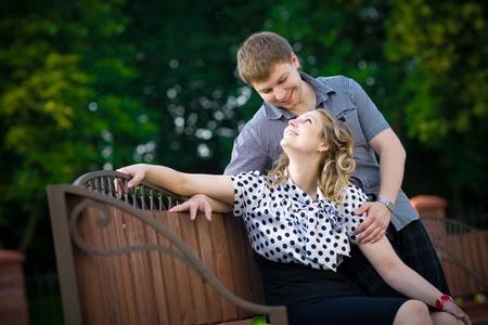 Beautiful young flirting couple photo